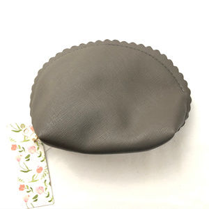 Handbags - Scalloped Edge Small Cosmetic Bag Zip Closure Gray